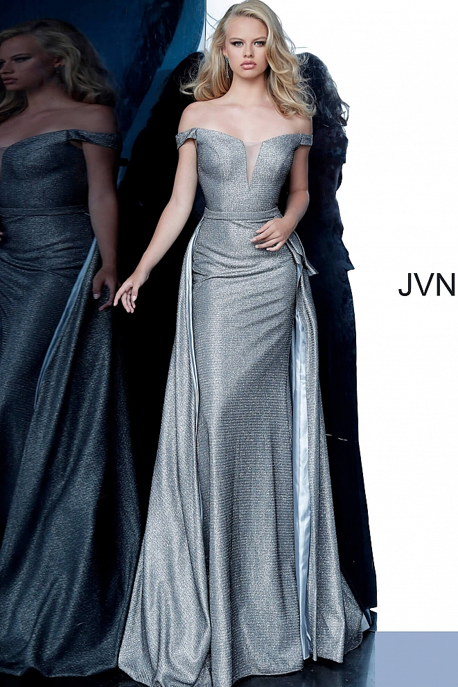JVN2560 Grey Off the Shoulder V Neck Prom Dress