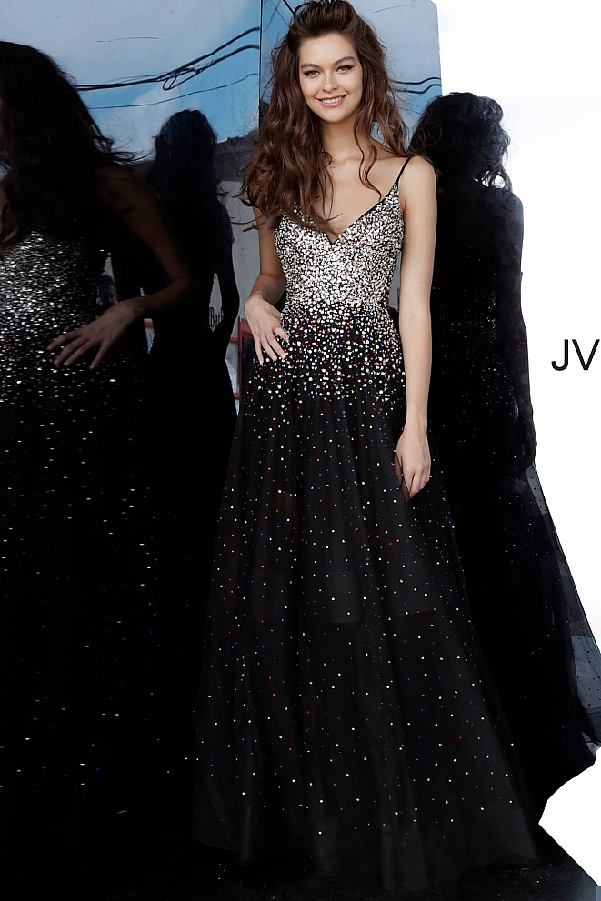 JVN2566 Black Multi Beaded Spaghetti Strap Prom Dress