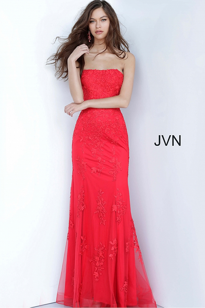 JVN3097 Red Lace Strapless Straight Neckline Prom Dress
