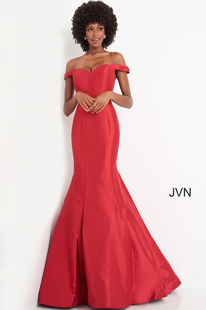 JVN3245 Red Sweetheart Neckline Prom Gown