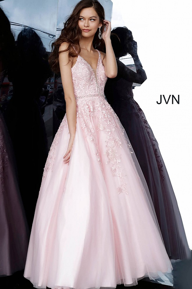 Pink Plunging Neckline Lace Prom Gown JVN3388