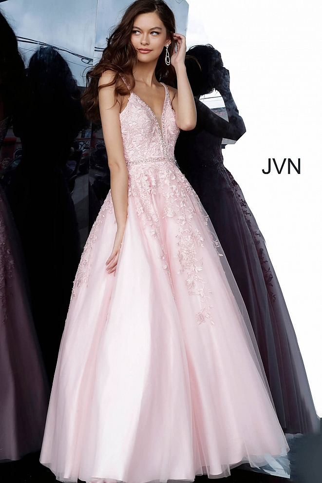 JVN3388 Pink Plunging Neckline Lace Prom Gown