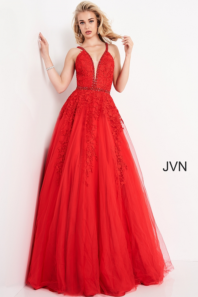 JVN3388 Red Plunging Neckline Lace Prom Gown