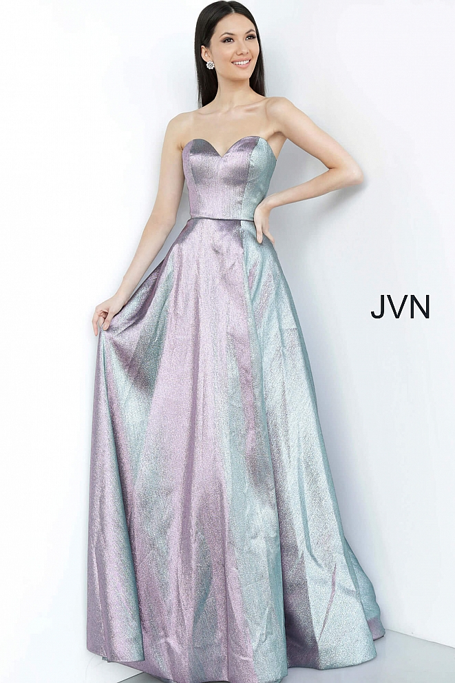 JVN3775 Purple Strapless High Slit Prom Dress