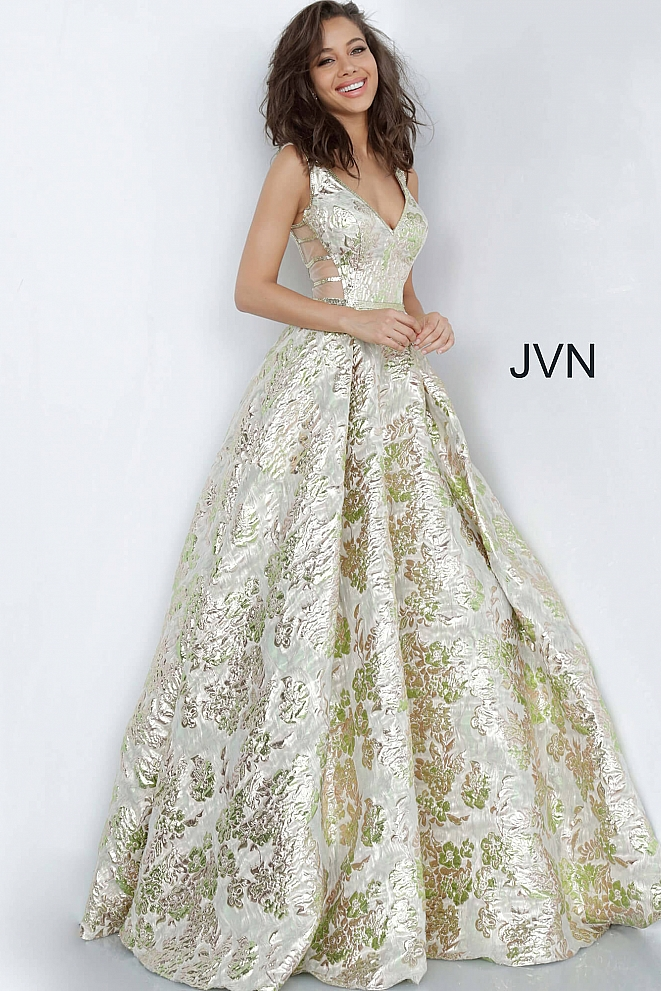 JVN3809 Green Gold V Neck A Line Prom Gown