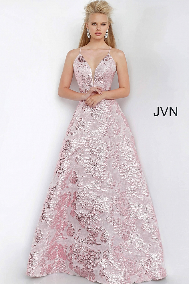 JVN3820 Rose A Line Plunging Neckline Prom Gown