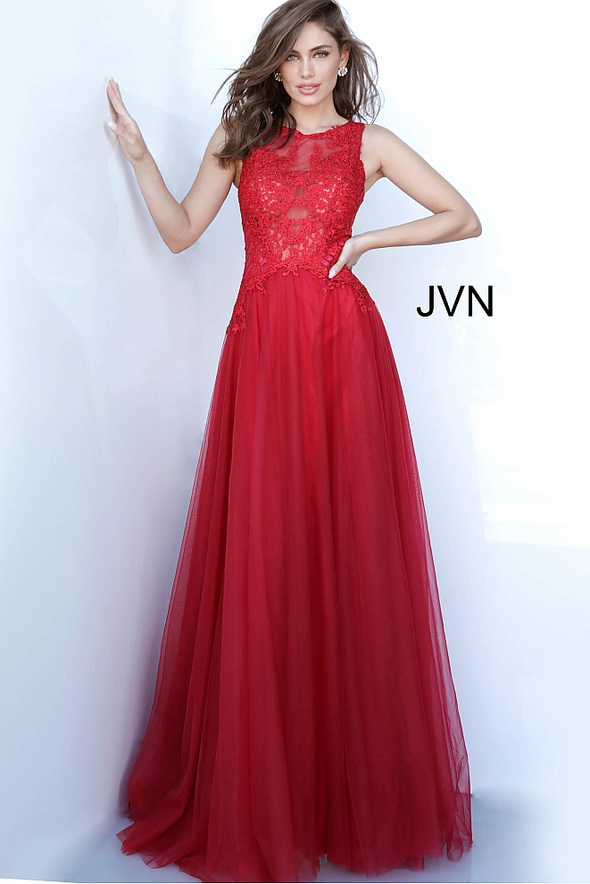 JVN3896 Burgundy Embroidered Bodice Tulle Prom Gown