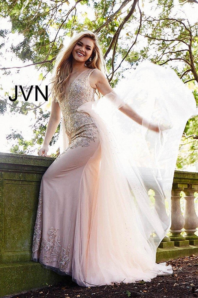 412a7e6d18 Blush and nude plunging neckline column dress with tulle overlay.