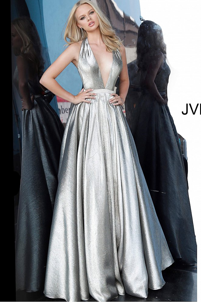 JVN4187 Silver Low V Halter Neck Prom Gown