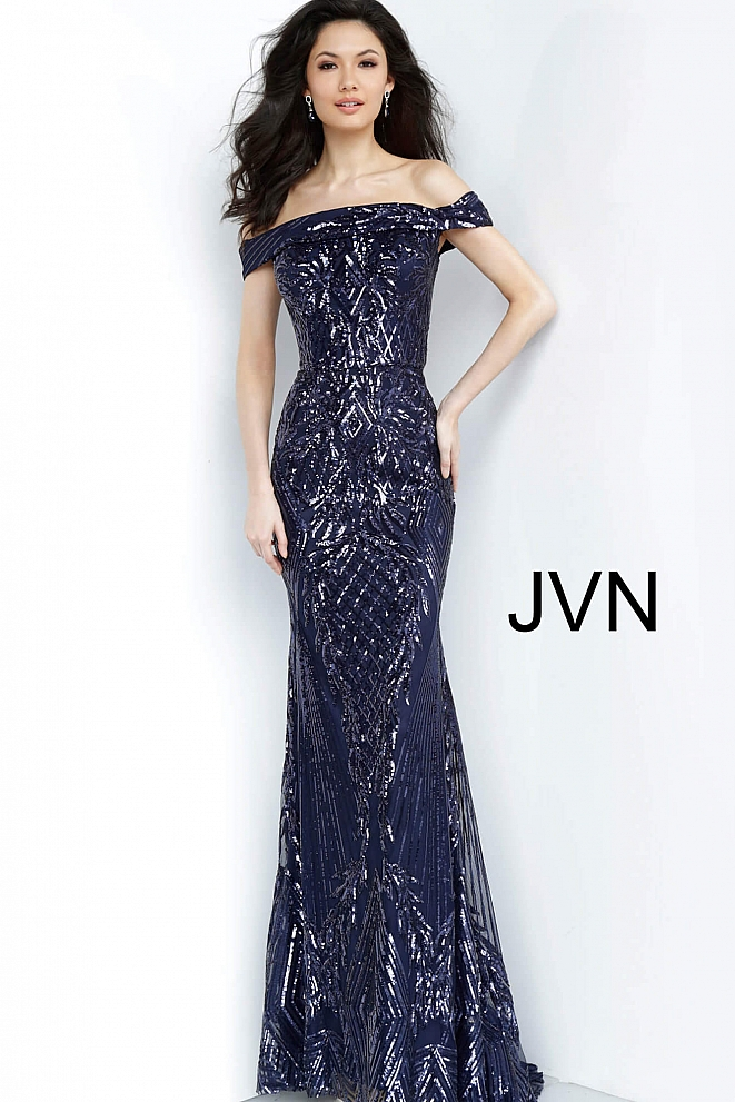 JVN4238 Navy Embellished Off the Shoulder Evening Dress