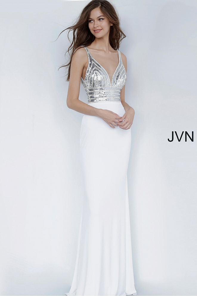 JVN4240 Silver and White Fitted Jersey Long Prom Dress