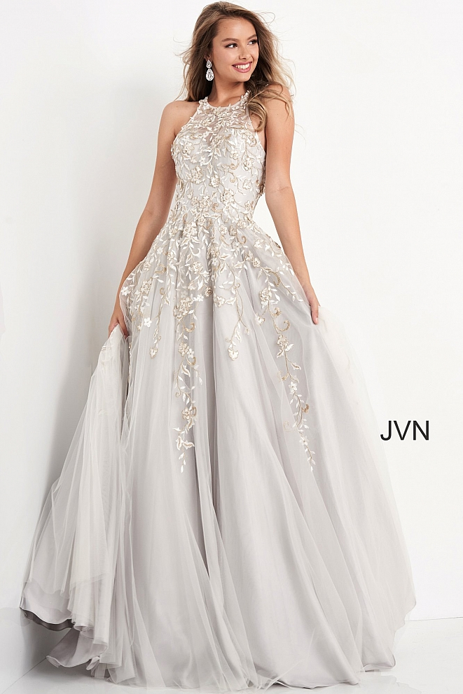 JVN4274 Grey Embroidered Bodice Prom Ballgown