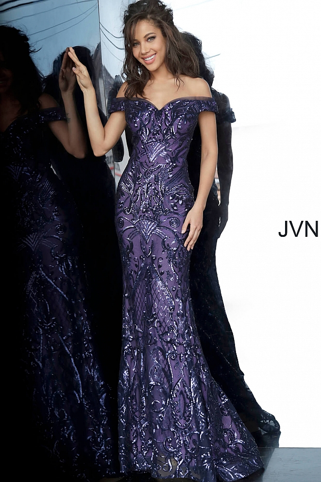 JVN4296 Navy Off the Shoulder Sweetheart Neckline Prom Gown