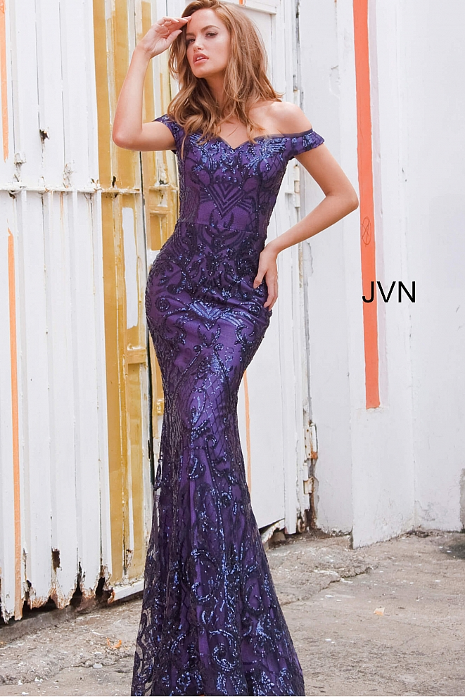 JVN4296 Navy Off the Shoulder Sweetheart Neckline Prom Dress