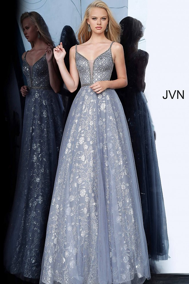 JVN4297 Charcoal Embellished Sleeveless Prom Ballgown