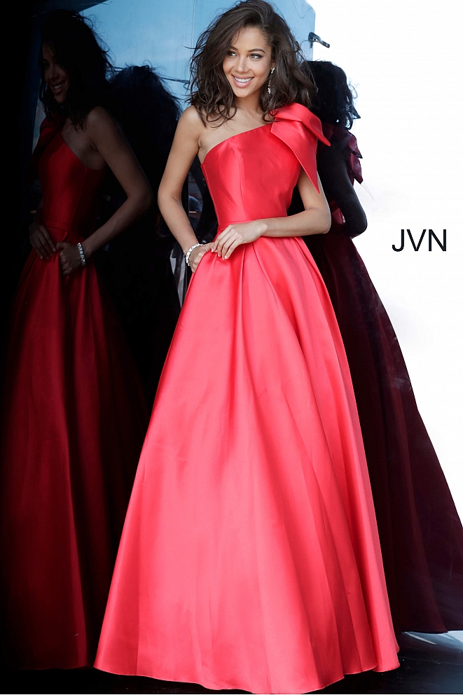 JVN4355 Red One Shoulder Pleated Skirt Prom Gown