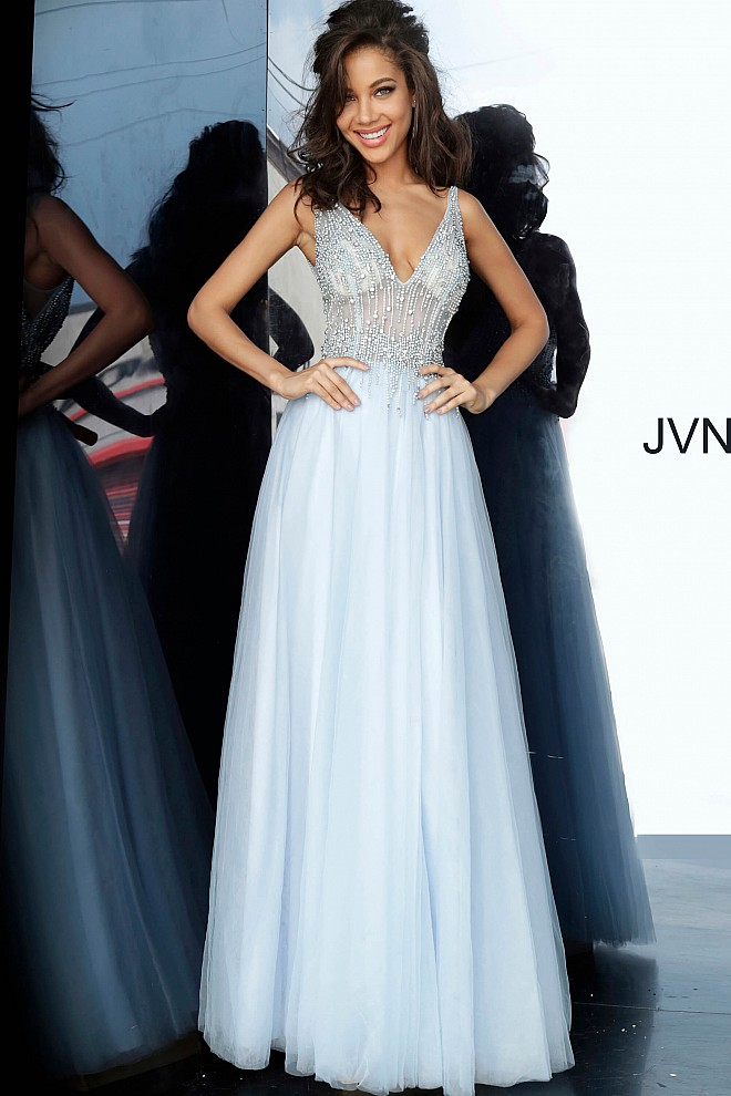 Perri Sheer Embellished Bodice Prom Gown JVN4379
