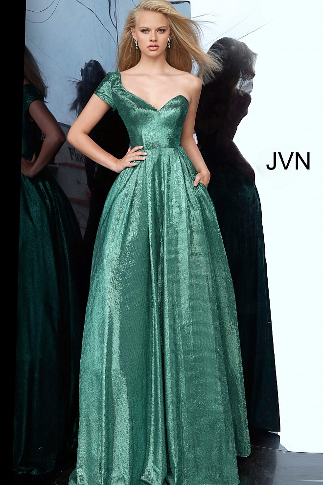 Emerald One Shoulder Sweetheart Neckline Prom Ballgown JVN4389