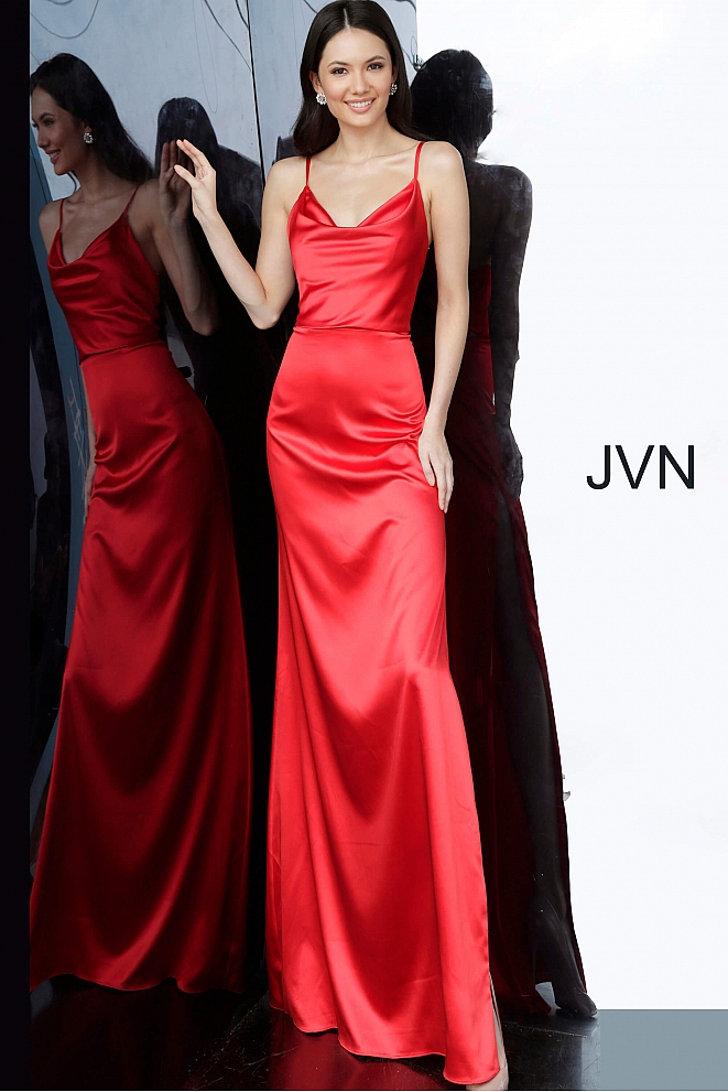 JVN4390 Red Cowl Neckline Side Slit Prom Dress