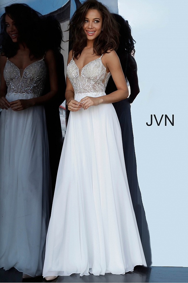 JVN4395 Off White Embellished Bodice Chiffon Prom Dress