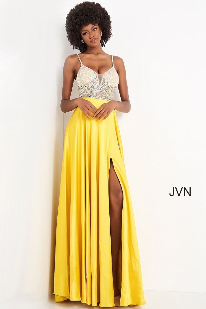 JVN4405 Yellow Crystal Embellished Bodice Prom Dress