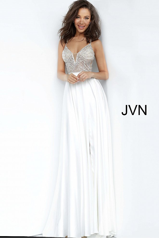 JVN4405 Off White Crystal Embellished Bodice Prom Dress