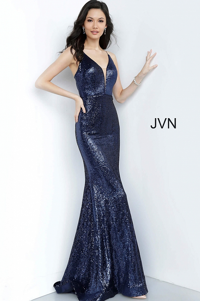 JVN4696 Navy Sequin Plunging Neckline Fitted Prom Dress