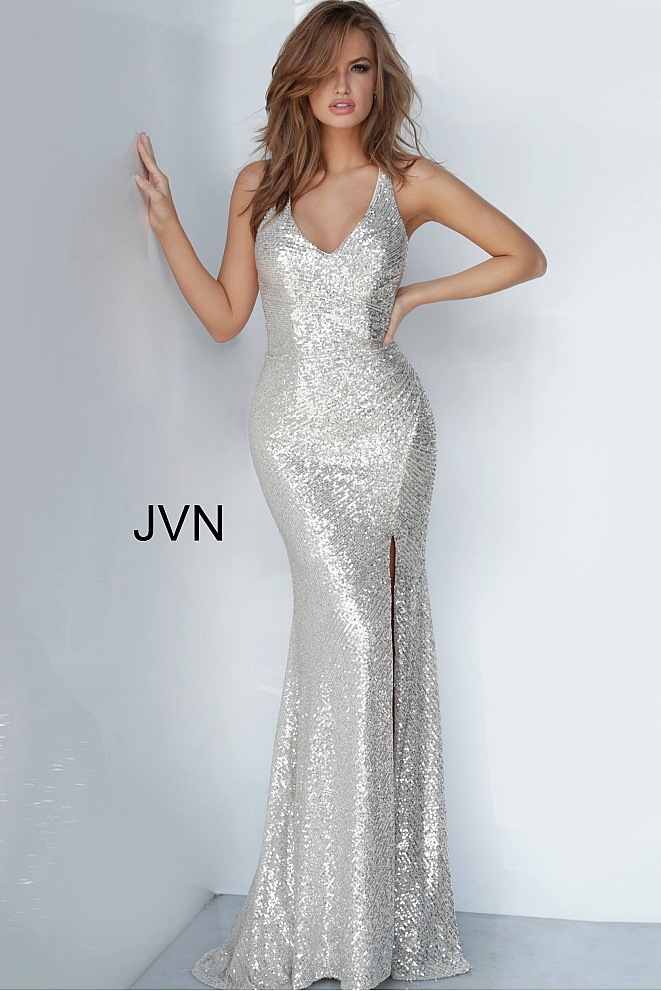JVN4707 Ruched Bodice V Neck Prom Dress