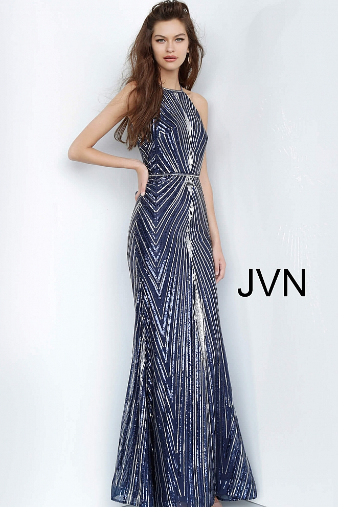 JVN4710 Navy Embellished Open Back Evening Dress