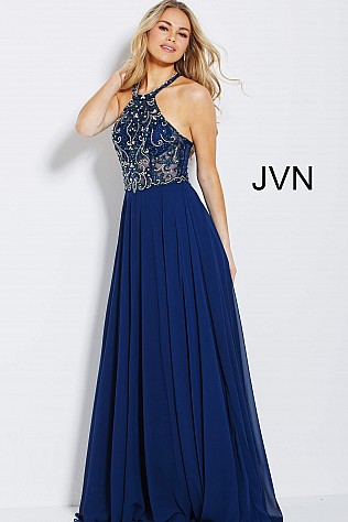 Navy High Neck Embellished Bodice Chiffon Prom Dress JVN50064