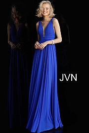 Blush Flowy Plunging V Neck Mesh Prom Dress JVN52179