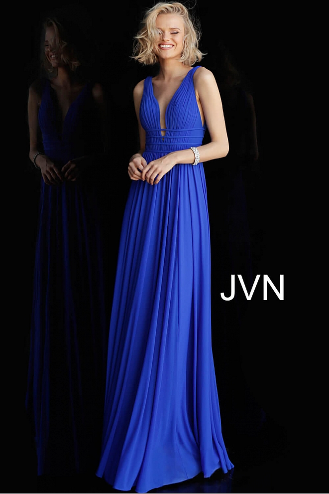 JVN52179 Royal Ruched Bodice Open Back Bridesmaid Dress