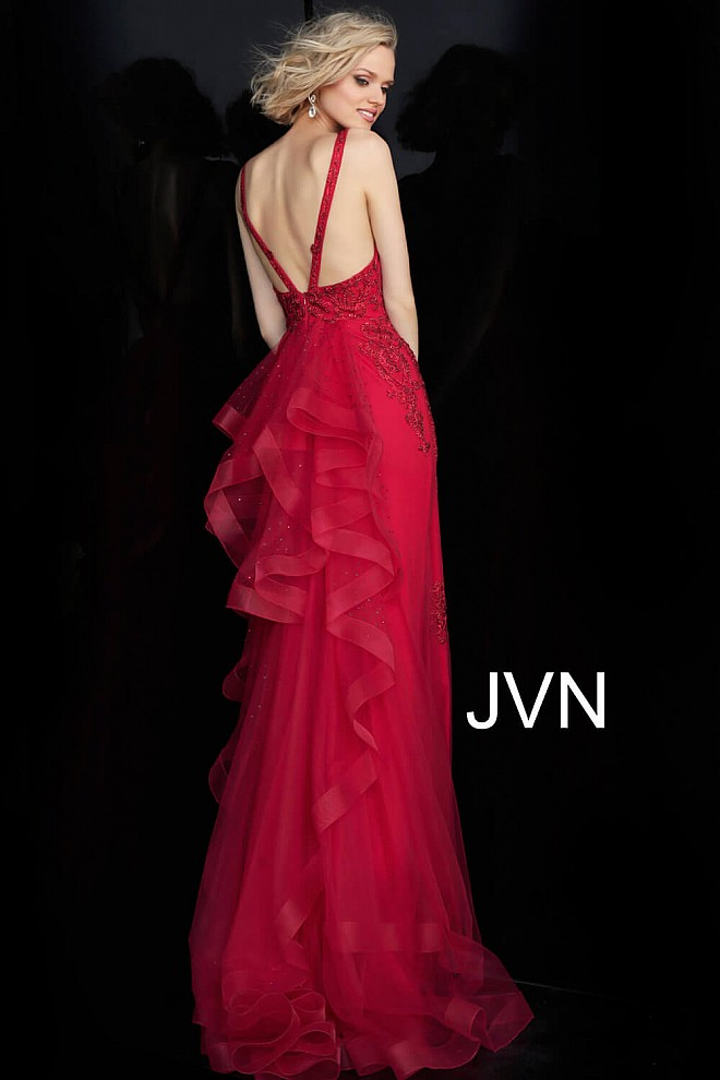 Red Embellished Ruffle Back Fitted Prom Dress JVN53188