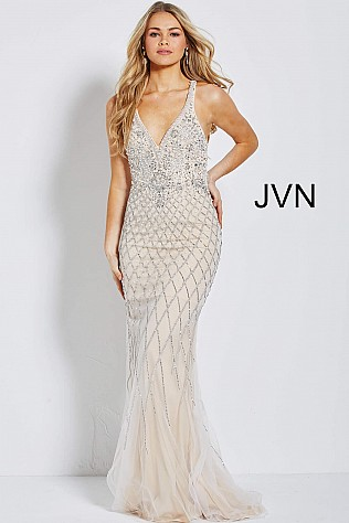 Silver Nude Embellished Backless Prom Dress JVN54552