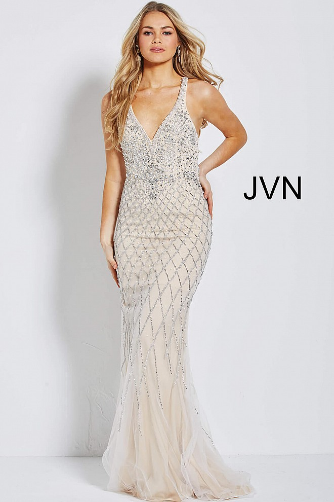8bb911ee2a2 Silver nude long fitted backless beaded sleeveless prom dress.