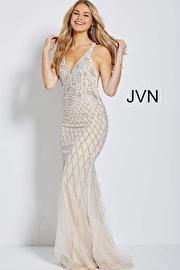 Silver Nude Embellished Backless Prom Dress JVN54552