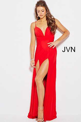 Red Spaghetti Straps V Neck High Slits Prom Dress JVN55198