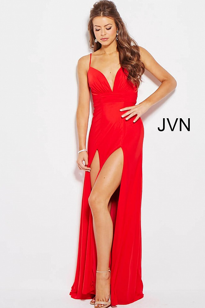 Red long pleated bodice high slit v neck prom dress with train. 9305f4717