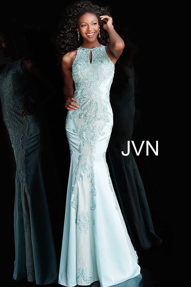 Royal Long Fitted Lace And Jersey Sleeveless Open Back Prom Dress