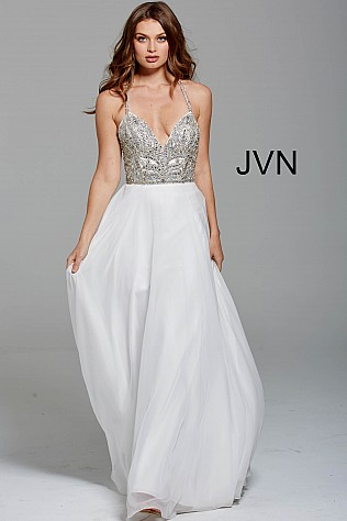 White Embellished Plunging Neck  Bodice Prom Dress JVN55874