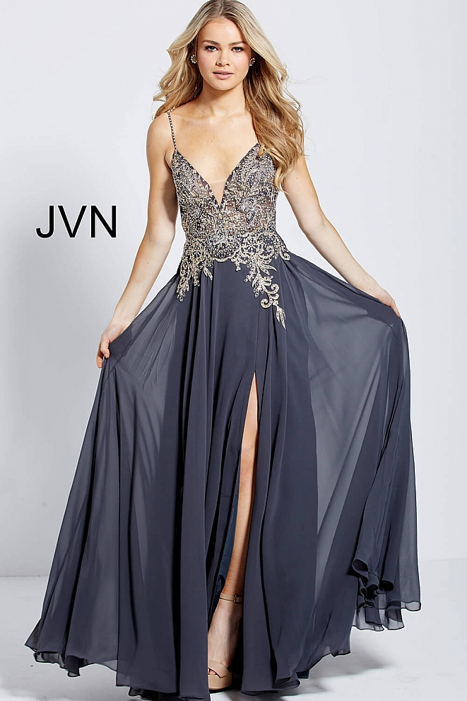 JVN55885 Charcoal Embellished Bodice Spaghetti Straps Prom Dress