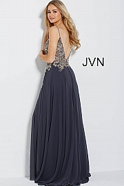 Charcoal Embellished Bodice Spaghetti Straps Prom Dress JVN55885