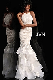 White Nude Embellished Mermaid Prom Gown JVN55908