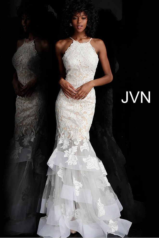 JVN55908 White Nude Embellished Mermaid Prom Gown