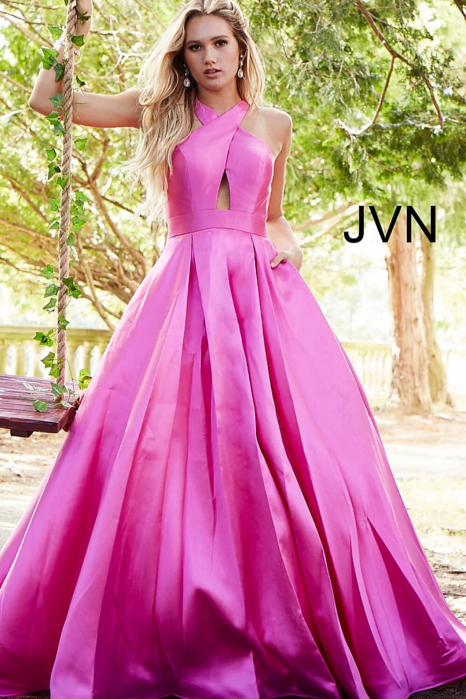 JVN56093 Bubble Pink Open Back Prom Gown