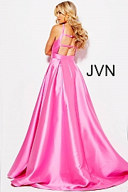 Bubble Pink High Criss Cross Neck Open Back Prom Gown JVN56093