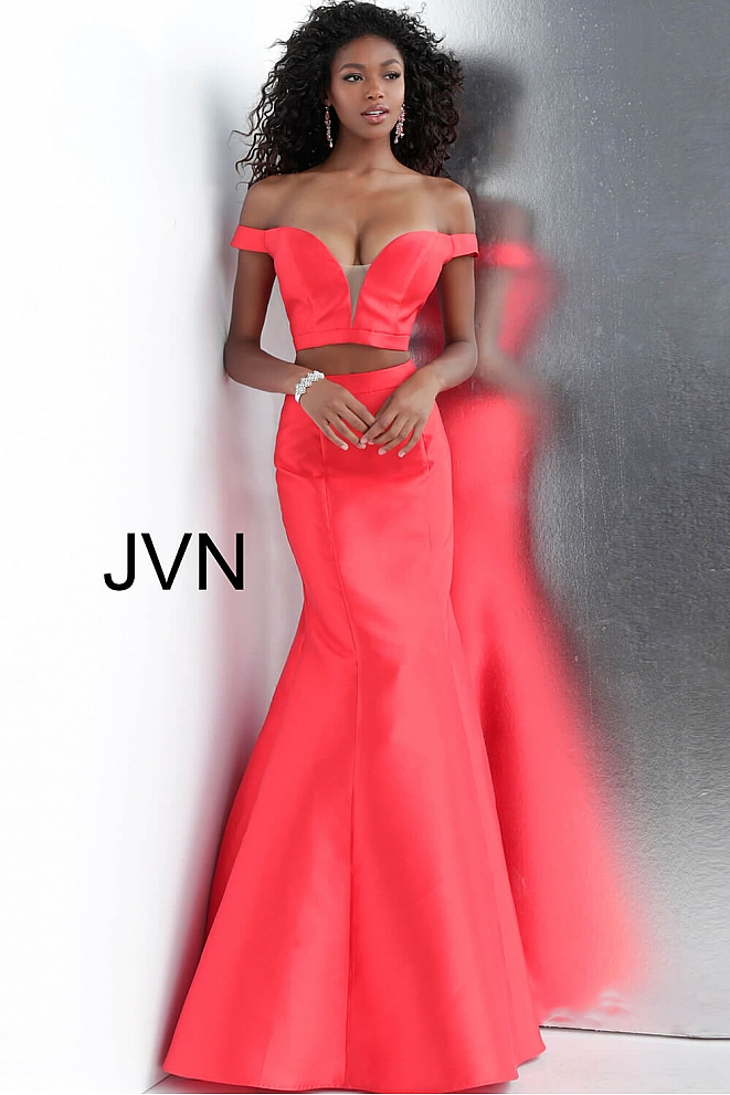 Red Two Piece Off the Shoulder Mermaid Prom Dress JVN58068