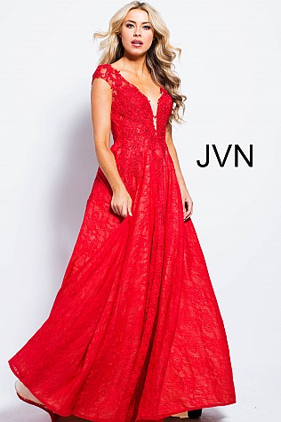 Red Pleated A Line Cap Sleeve Prom Gown JVN58119
