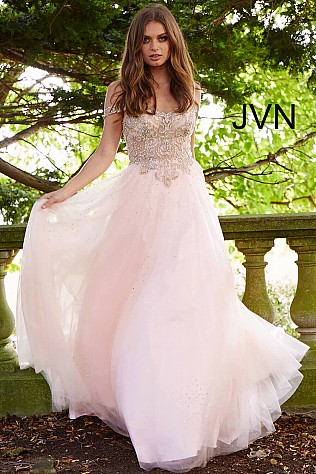 Blush Gold Embellished Off the Shoulder Prom Ballgown JVN58403