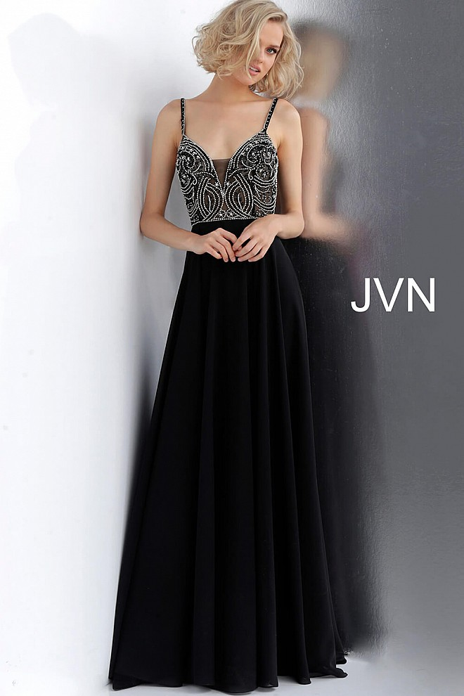 Black Embellished Bodice Chiffon Prom Dress JVN59136